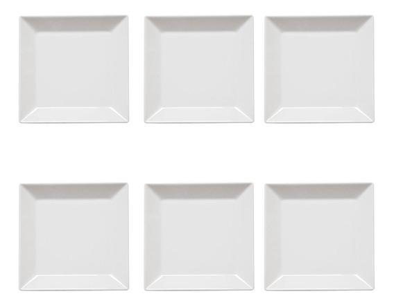 Set Platos Playo Cuadrados De Porcelana Oxford X6 Blanco