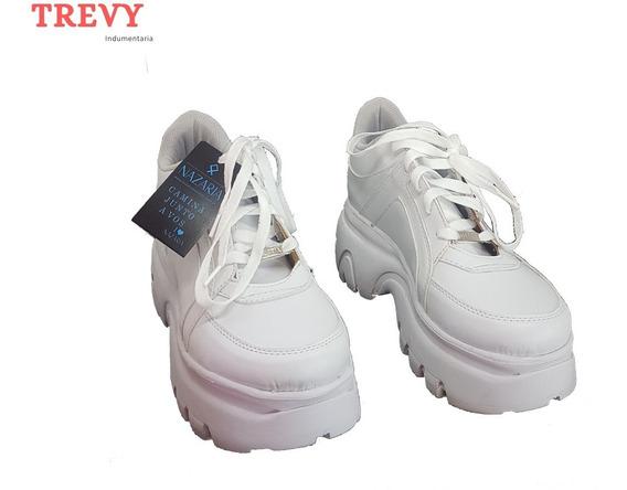 Zapatillas Mujer Plataforma Pu Blancas