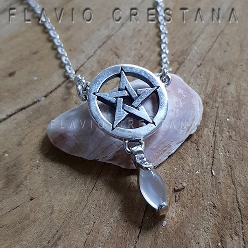 Colar Pentagrama, Pedra Da Lua Natural, Prata 925, Ajustável