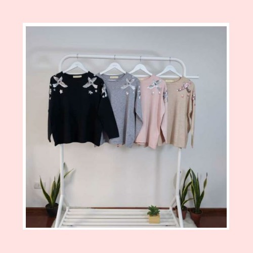 Sweters Moderno De Mujer Talles 38/40 Rosa Gris Negro Beige