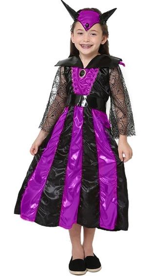 Roupa De Halloween Infantil Luxo Malévola + Chifre 3 A9 Anos