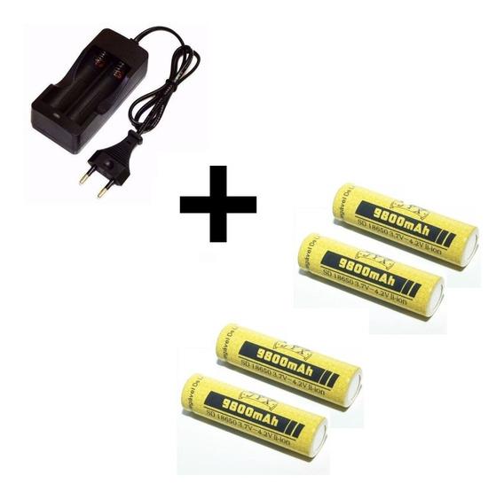 Pacote Com Carregador Duplo + 04 Baterias 18650 De 4,2v Para Lanterna Tática