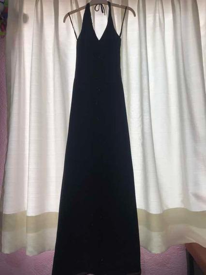 Vestido Largo De Noche Negro Con Abertura Al Frente, Talla6