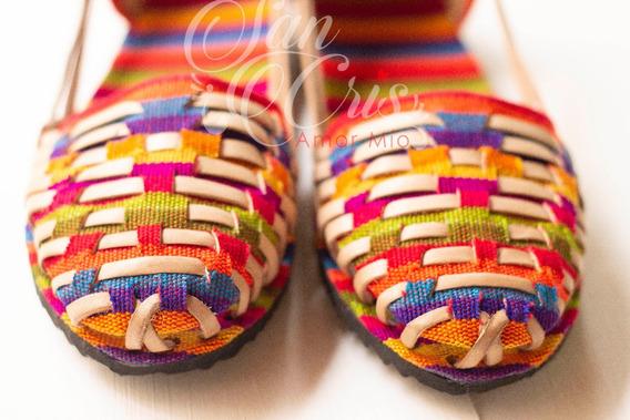 Sandalia Huarache Artesanal De Piel Y Tela Colorida Chiapas