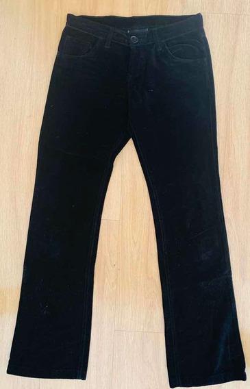 Pantalón Mujer Pana Negro Akiabara Talle 1 S Impecable