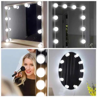 10 Focos Led/fria Espejo A Usb Maquillaje Estilo Hollywood