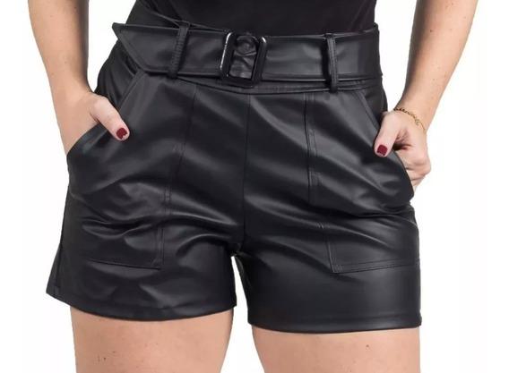 Shorts Couro Fake Ecológico Cinto Cintura Alta Blogueiras