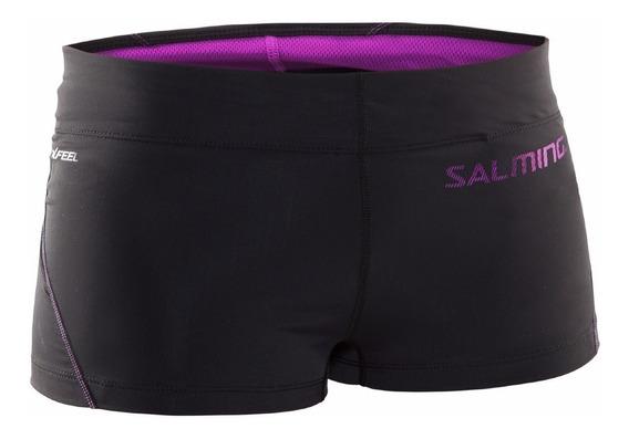 Short Corto Tipo Calza Negro Con Violeta Mujer Salming