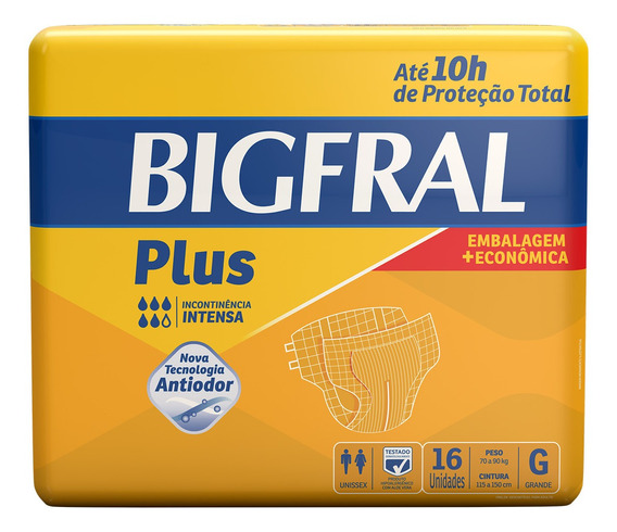 Fralda Adulta Bigfral Plus G - 16 Unidades