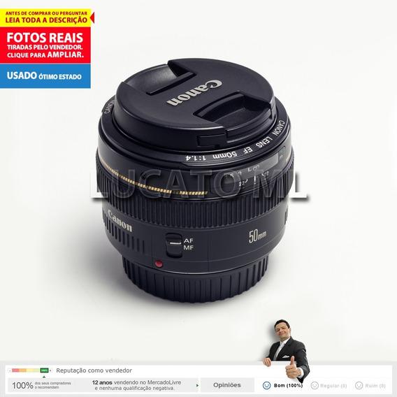Lente Canon Ef 50mm F1.4 Usm Em 12x S/ Juros + Frete Grátis