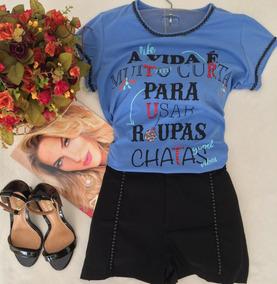 Blusa T Shirt A Vida E Curta Para Usar Roupas Chatas Tam P