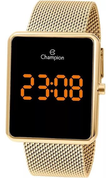 Relógio Champion Unissex Digital Led Dourado Quadrado