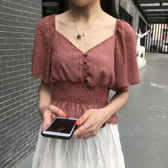 Mulheres Blusa Elegante Doce Coração Neck Topo Com Decorat