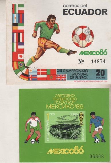 2 Bloques De Futbol Mundial Mexico 86 Bulgaria Y Ecuador S/c