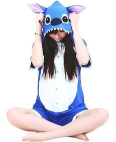 Fantasia Cosplay Stitch Fa041 Pijama Macacão Adulto Curto