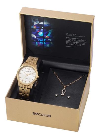 Relógio Seculus Feminino + Colar + Brincos + Garantia Nfe