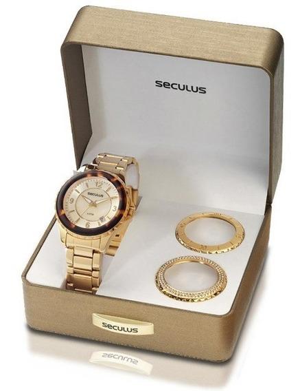 Relógio Seculus Feminino Casual Dourado C/ 3 Catracas