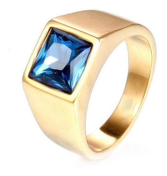 Anel Pedra Azul Masculino Banhado A Ouro 18k Administração