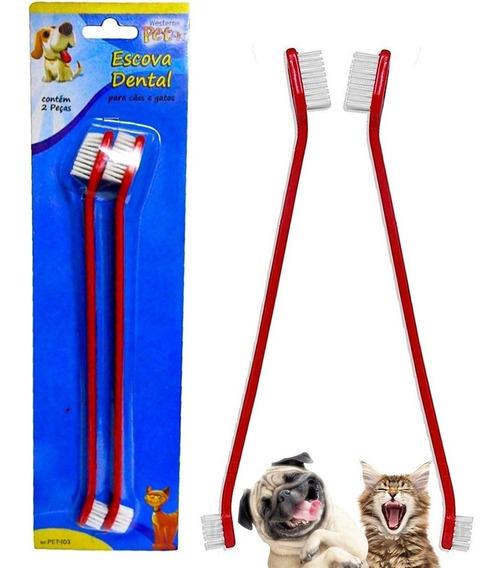 Escova De Dente Dupla Cães E Gatos Pet Shop Higiene E Saúde