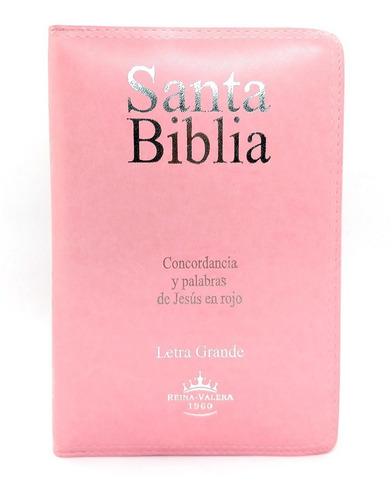 Imagen 1 de 7 de Biblia Reina Valera 1960 Cierre Letra Grande Rosa Pjr Sba