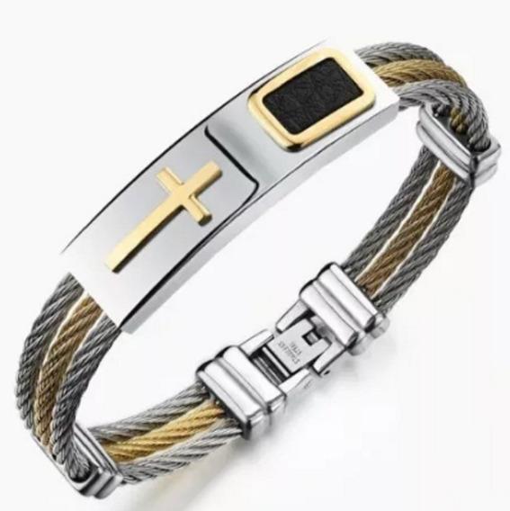 Pulseira Bracelete Couro Cruz Crucifixo Feminino Masculino
