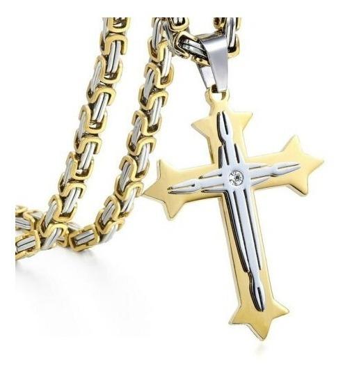 Crucifixo 45 Mm E Colar 45 Cm 2 Tons Aço Inoxidável