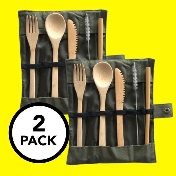 2 Sets De Cubiertos De Bambú Ecológicos, Veganos Y Reusables