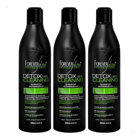 03 Shampoo Anti Resíduo Detox Cleaning Forever Liss 500ml