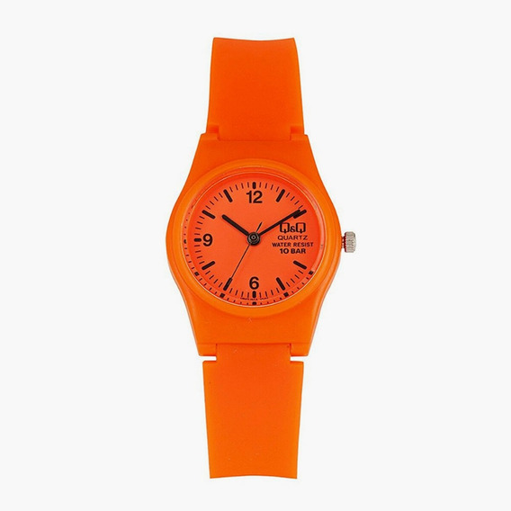 Relógio Infantil Laranja Q&q Silicone Ponteiros Pretos + Nf