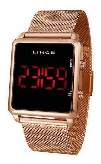 Relógio Lince Led Digital Rosê Unissex Mdr4596l + Brinde