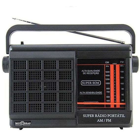 Radio Portátil Motobras Am Fm 4 Pilhas E Bivolt Fone Ouvido