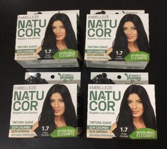 Kit C/ 4 Tintas De Cabelo Vegana Natucor Embelleze Preto 12x