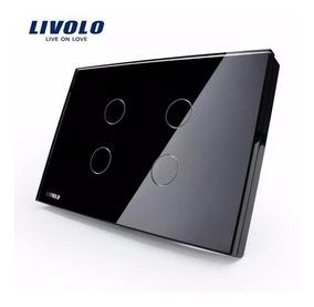 Interruptor Led Livolo Touch 4 Vias Botões - Preto