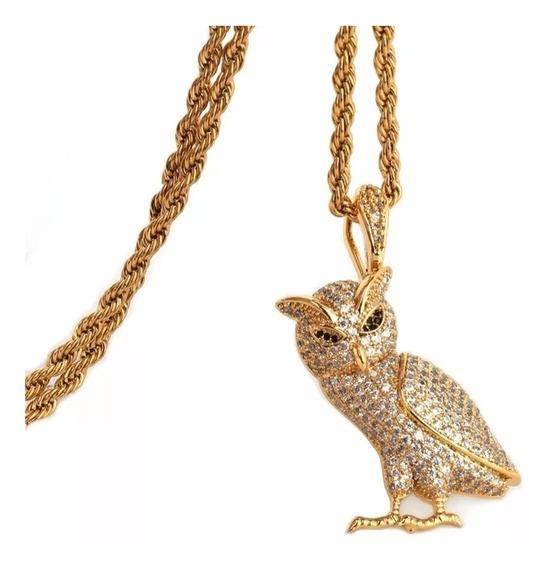 Colar Coruja Drake Iluminados Cor Ouro Zirconias Hip-hop