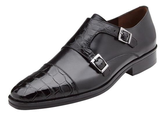 Zapatos Monkstrap En Piel De Cocodrilo Marca Gran Par