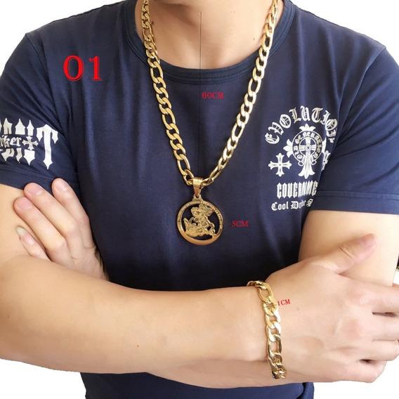 Corrente Com Pingente+pulseira Aço Masculino Pronta Entrega