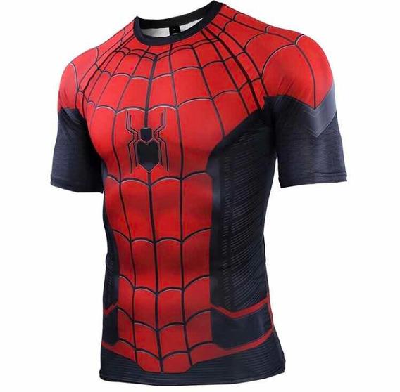Remera Spiderman Far Home Hombre Araña Compresion Marvel