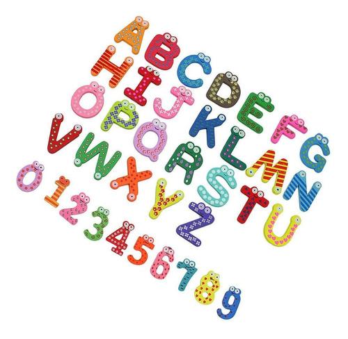 Pack 52 Letras Y 20 Números Imán Madera Colores Artico Store
