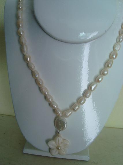 Collar De Perla Y Flor De Conchas Perlas 8 - 10 Mm