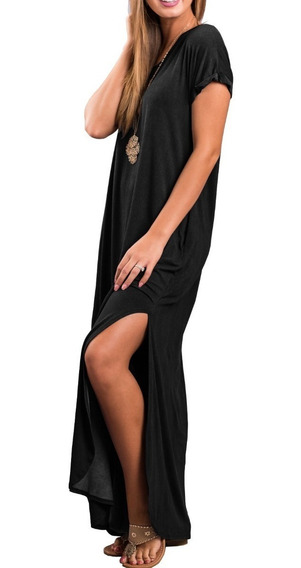 Vestido Largo Mangas Cortas Bolsillo Mujer Verano Fw19