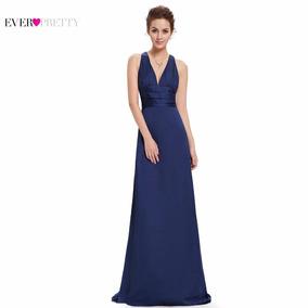 82840cb30ba Vestido De Noche Satinado Azul Oscuro Mujer Largo De Gala