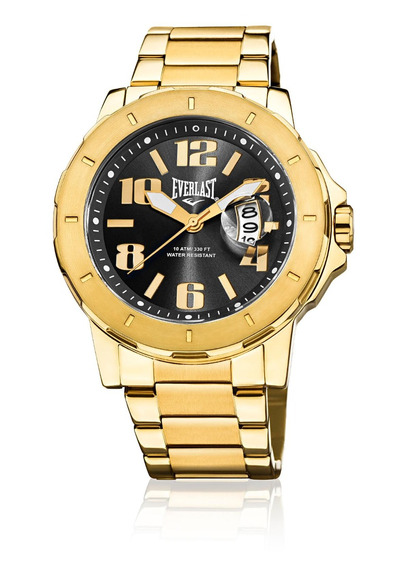 Relógio Pulso Everlast Masculino Calendário Aço Dourado E642