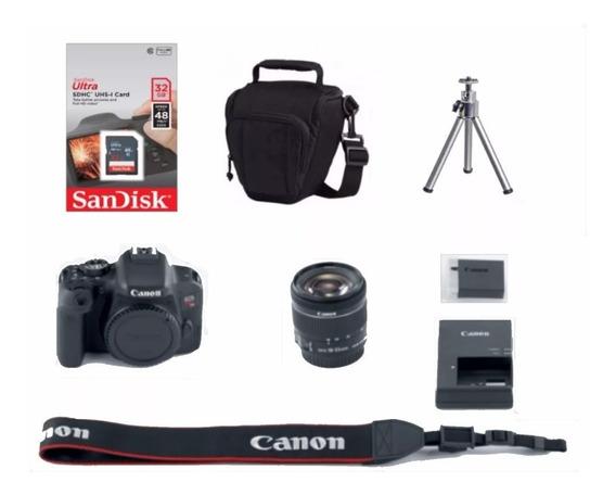 Câmera Canon Rebel T7i C/ 18-55mm Stm+ 32gb+ Bolsa+ Tripé