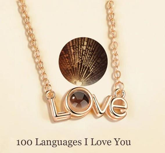 Cordão Namorados Eu Te Amo 100 Idiomas Olho Grego Projetor