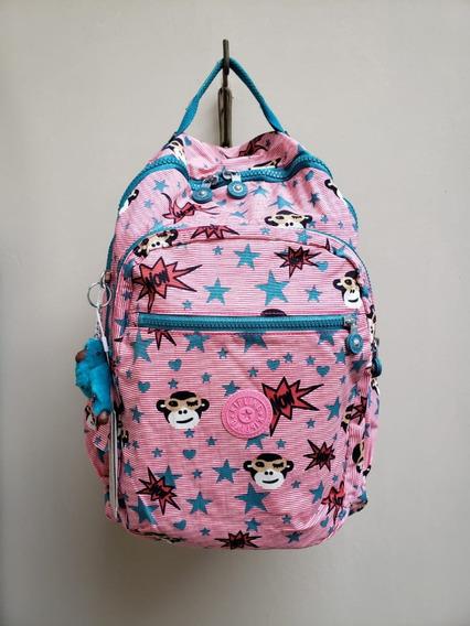 Mochila Escolar Kipling Seoul Go L Pink Monkey Feminina