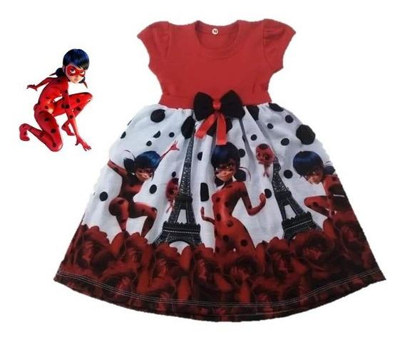 Vestido Infantil Ladybug Miraculous Malha - Roupa/fantasia