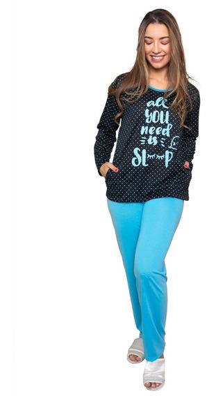 Kit 2 Pijama Feminino Inverno Longo Poá Adulto Roupa Dormir