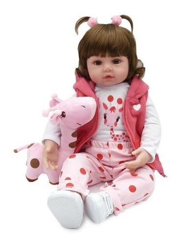 Bebe Reborn Corpo Pano Linda Com Girafinha 48cm - Laura Baby