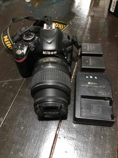 Cámara Nikon D3200 Cuerpo, Lente, Cargador Y 2 Pilas
