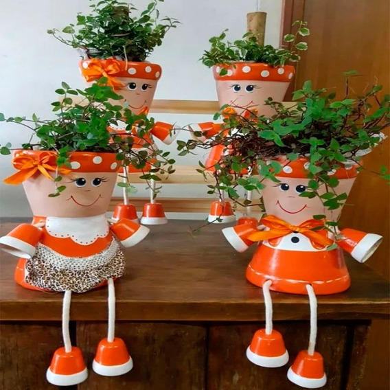 Casal Boneco Vaso Articulado Para Jardim - Escolha O Seu!